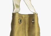 本革ポケット付き麻手提げ袋スナップ部分